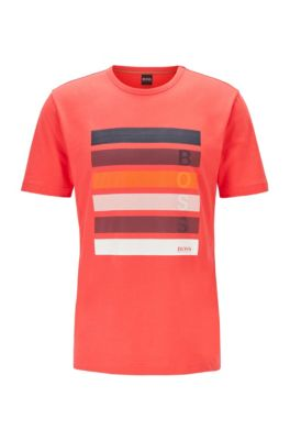 Cotton-jersey T-shirt with color-block logo artwork, Red