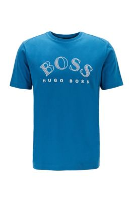 Cotton-jersey T-shirt with curved-logo print, Blue