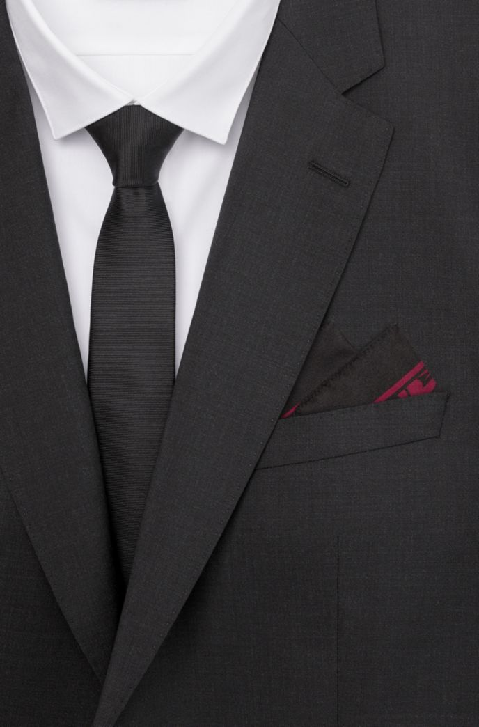 Silk pocket square with logo in floral print