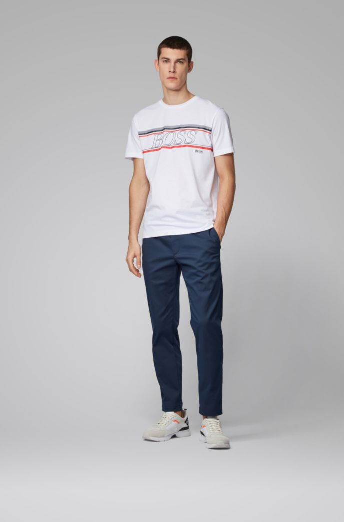 Single-jersey T-shirt with logo stripe artwork