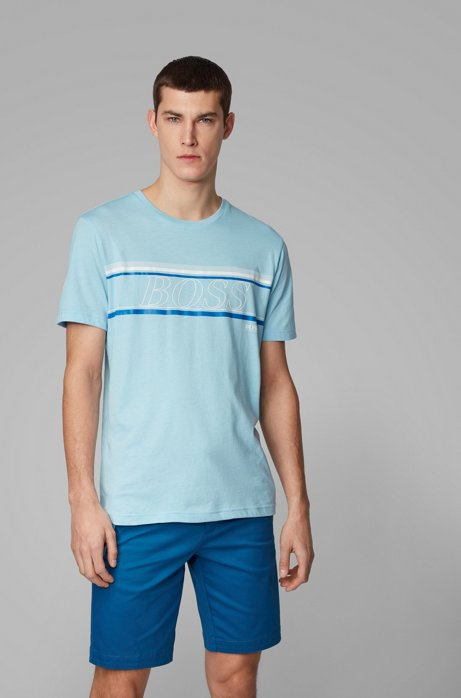 Single-jersey T-shirt with logo stripe artwork, Dark Blue