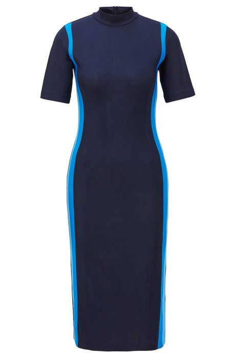 Turtleneck dress with colorful stripes and back-neck zip, Open Blue