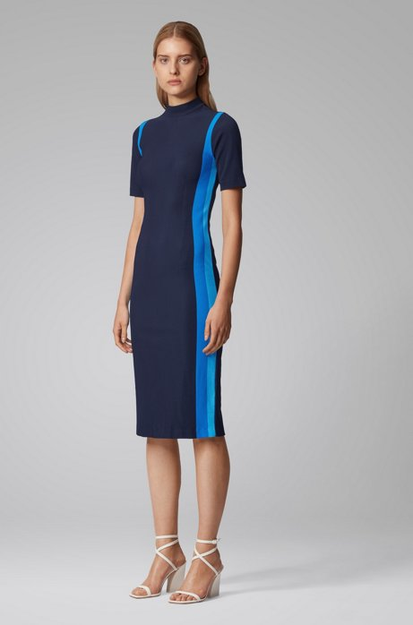 Turtleneck dress with colorful stripes and back-neck zip, Light Blue