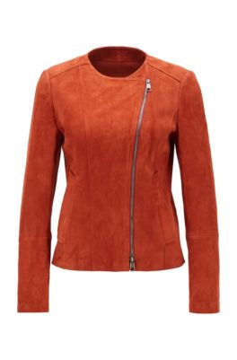 Collarless jacket in lamb suede with asymmetrical zipper, Brown