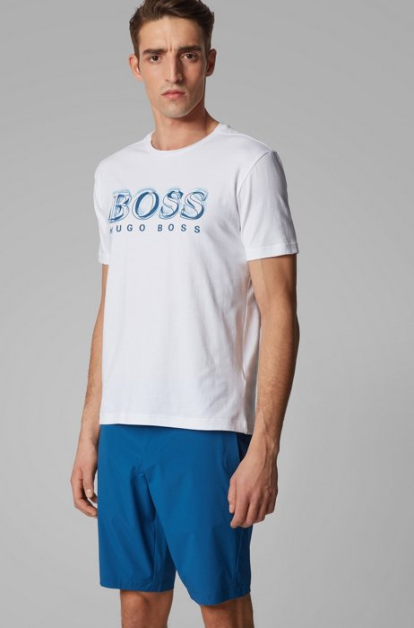 Stretch-cotton T-shirt with printed logo artwork, White