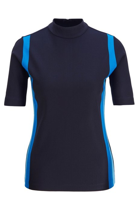 Slim-fit top with colorful stripes and rear zip, Open Blue