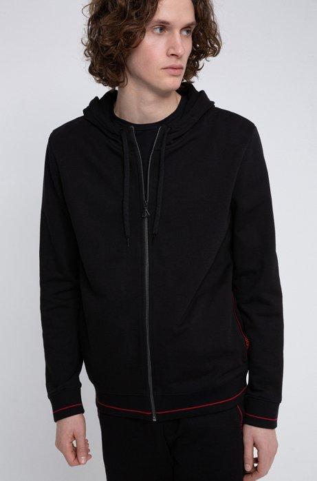 Zip-through hoodie in cotton terry with logo pocket, Black