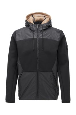 Hybrid zip-through jacket with detachable mesh hood, Dark Grey