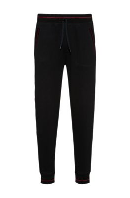 Cuffed jogging pants in French terry with contrast details, Black