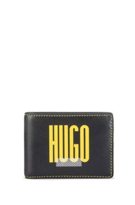 Logo-print billfold wallet in full-grain leather, Black