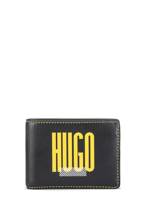 Logo-print billfold wallet in full-grain leather, Black