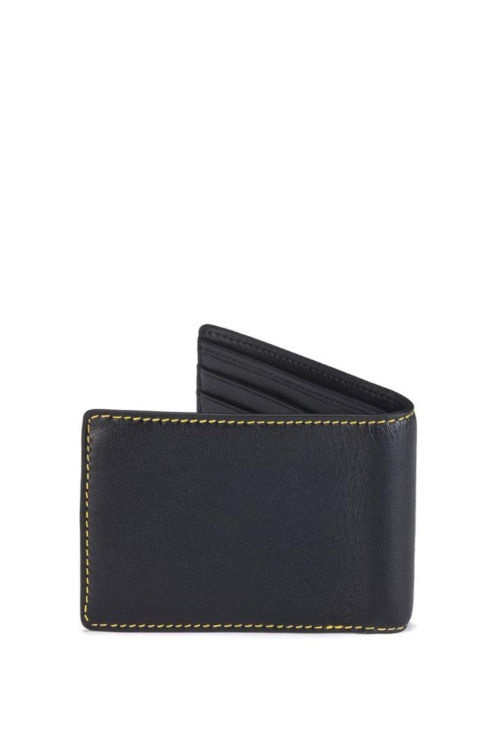 Logo-print billfold wallet in full-grain leather