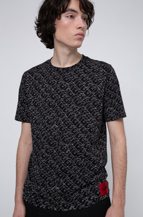 Cotton-jersey T-shirt with cubistic logo print, Black