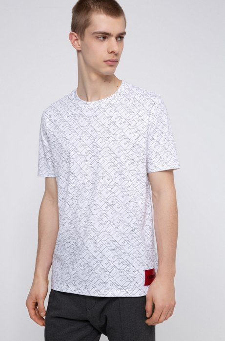 Cotton-jersey T-shirt with cubistic logo print, White