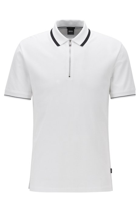Zip-neck polo shirt in honeycomb cotton, White