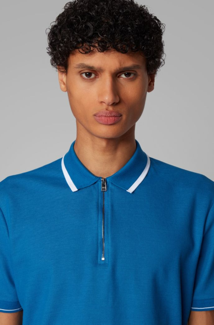 Zip-neck polo shirt in honeycomb cotton