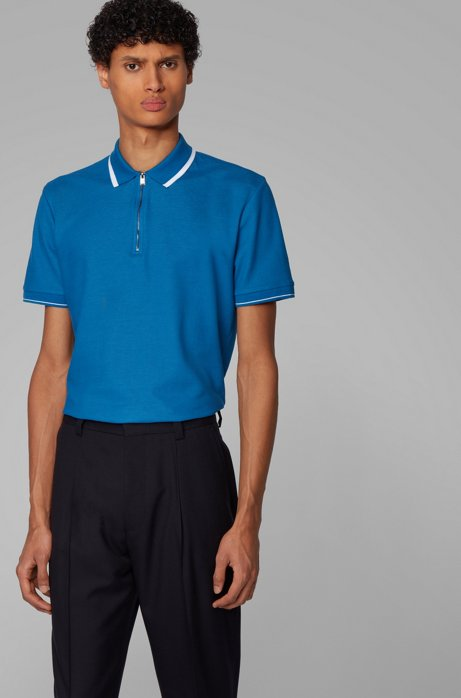 Zip-neck polo shirt in honeycomb cotton, Blue