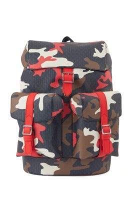 Camouflage-print backpack with all-over monograms, Patterned