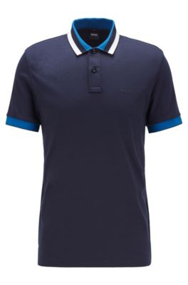 Slim-fit polo shirt in cotton with striped collar, Dark Blue