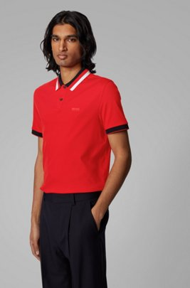 Slim-fit polo shirt in cotton with striped collar, Red