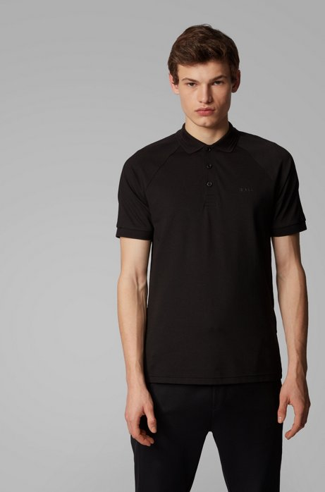 Slim-fit polo shirt in stretch-piqué with S.Café®, Black