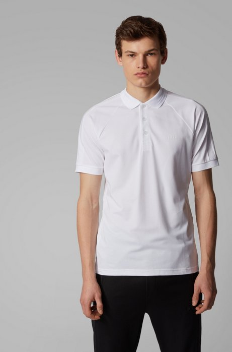 Slim-fit polo shirt in stretch-piqué with S.Café®, White