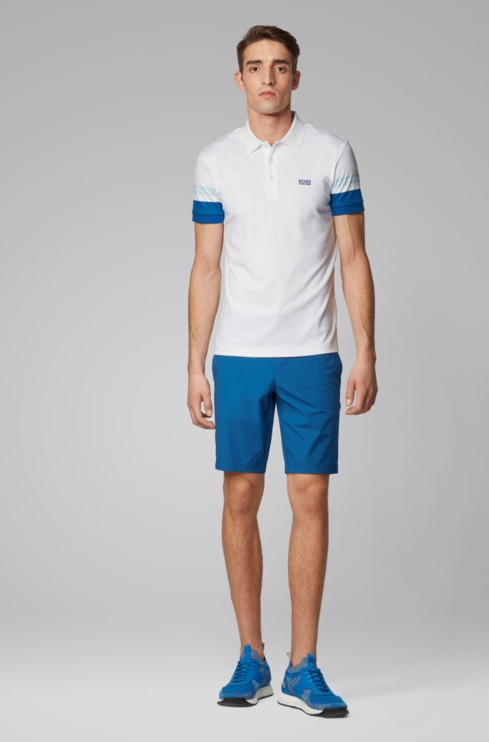 Slim-fit polo shirt with engineered-stripe sleeves