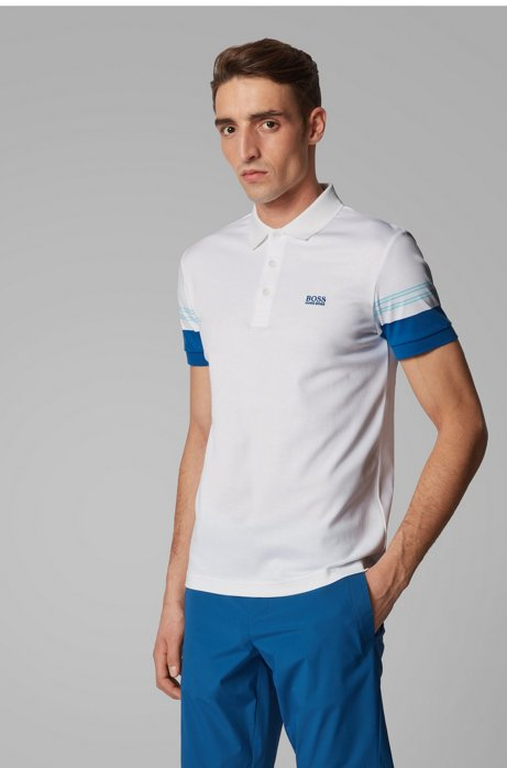 Slim-fit polo shirt with engineered-stripe sleeves, White