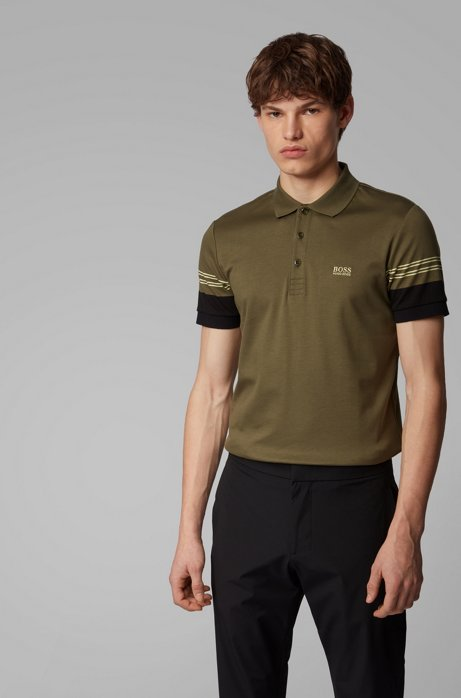 Slim-fit polo shirt with engineered-stripe sleeves, Dark Green