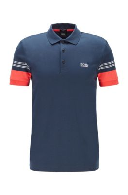 Slim-fit polo shirt with engineered-stripe sleeves, Dark Blue