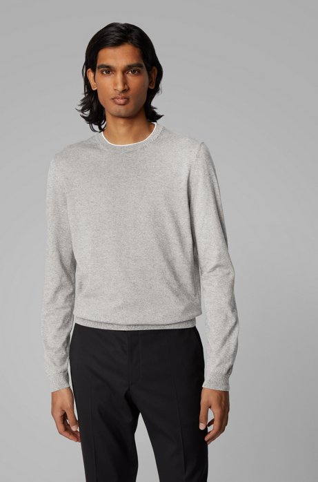 Slim-fit sweater in pure cotton jersey , Open Grey