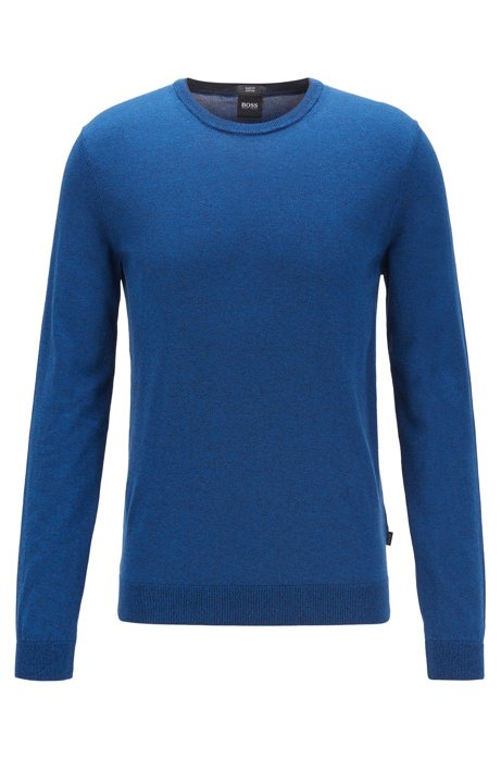Slim-fit sweater in pure cotton jersey , Blue