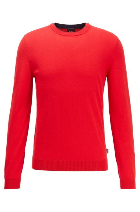 Slim-fit sweater in pure cotton jersey , Red