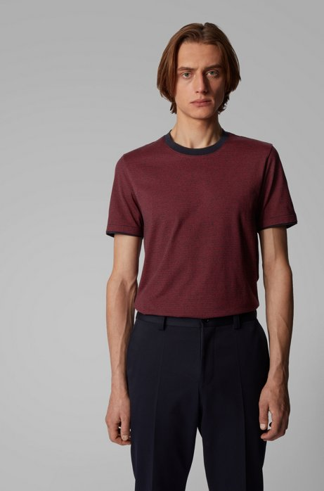 Slim-fit T-shirt in mouliné cotton with contrast trims, Dark Blue
