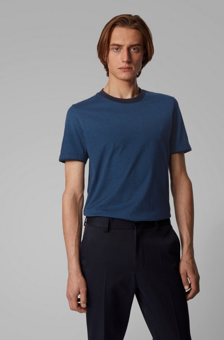 Slim-fit T-shirt in mouliné cotton with contrast trims, Blue