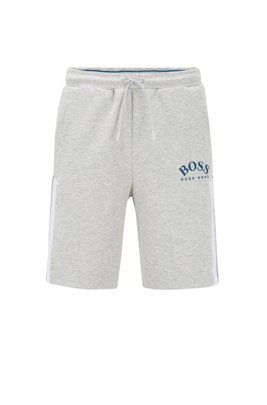 Slim-fit shorts with contrast details and curved logo, Light Grey