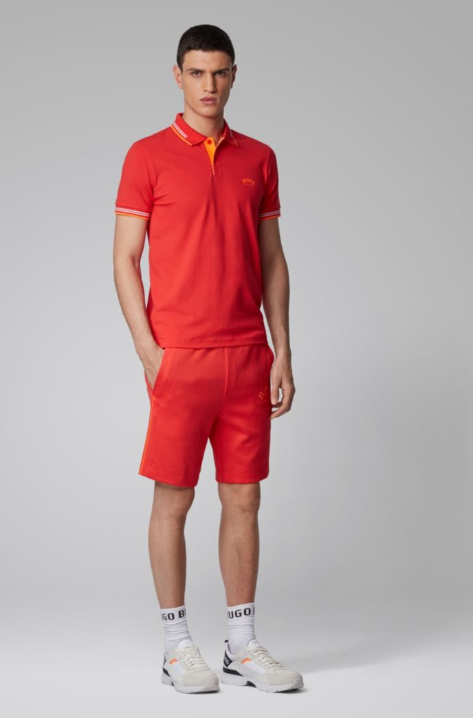 Slim-fit shorts with contrast details and curved logo