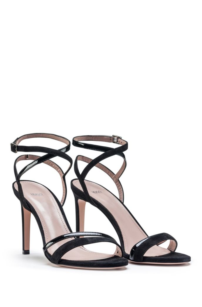 Strappy sandals in Italian leather and suede