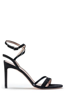 Strappy sandals in Italian leather and suede, Black