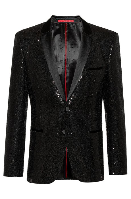 Extra-slim-fit evening jacket with all-over sequins, Black