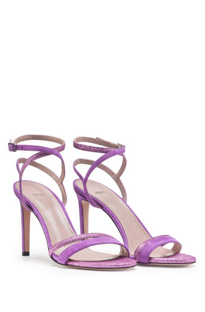 Italian-made strappy sandals in suede and glitter fabric