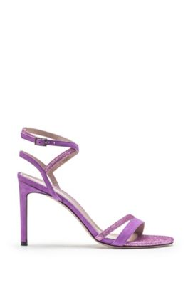 Italian-made strappy sandals in suede and glitter fabric, Purple