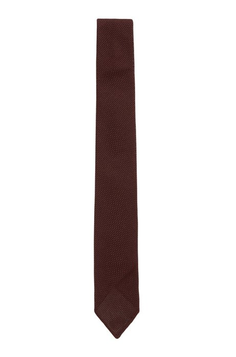 Italian-made tie in silk jacquard with rolled hem, Dark Red