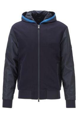 Regular-fit hooded sweatshirt with fixed insert, Dark Blue