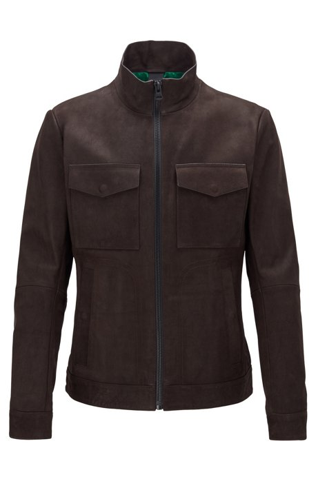 Slim-fit jacket in brushed leather with chunky zipper, Dark Brown