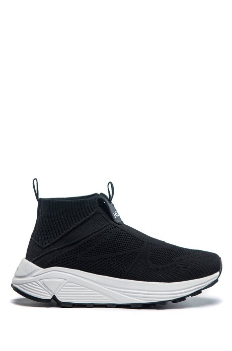 Running-style sneakers with knitted upper and Vibram sole, Black