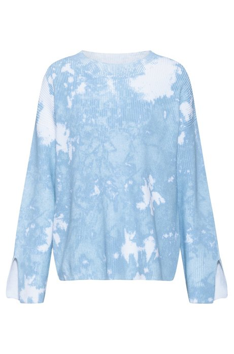 Relaxed-fit cotton sweater with tie-dye effect, Patterned