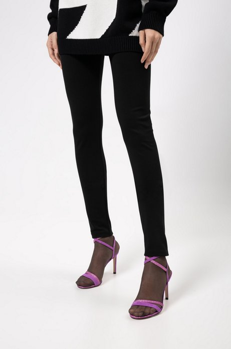 Super-skinny-fit jersey pants with zippered hems, Black