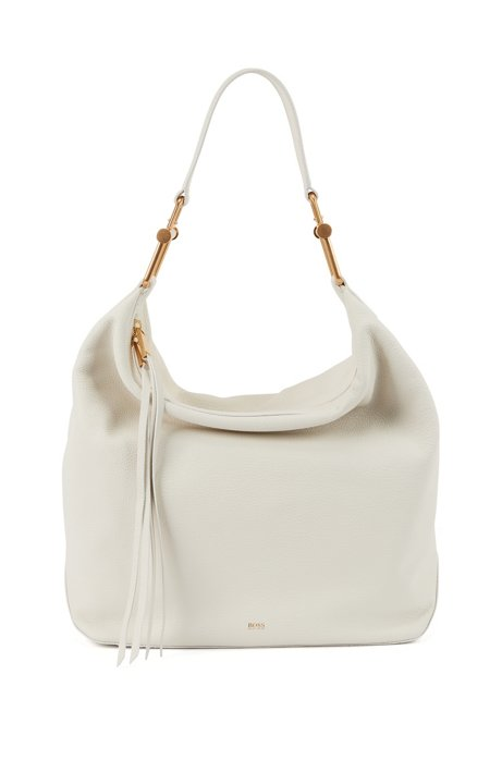 Hobo bag in grained Italian leather with antique hardware, Natural
