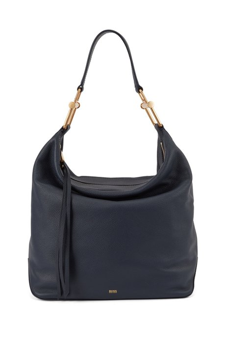 Hobo bag in grained Italian leather with antique hardware, Dark Blue